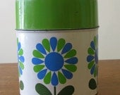 Set of 4 tins with retro green and blue flower pattern