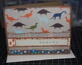 SALE Handmade Single Thank You Card Thanks Dinosaur Stars Prehistoric Foot Prints Kids Boys T-Rex Stegosaurus (No.154)