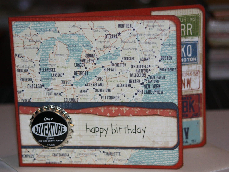 SALE Handmade Happy Birthday Card Travel Theme by JakeAndTonys