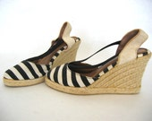 black and white STRIPED ESPADRILLE wedges