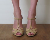 BUFF ITALIAN STRAPPY leather t strap sandals, 7.5