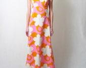 JOSEPH MAGNIN mod floral polynesian maxi dress, s - m