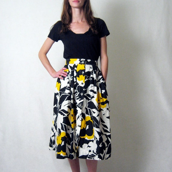 GRAPHIC FLORAL high waist print midi skirt, m
