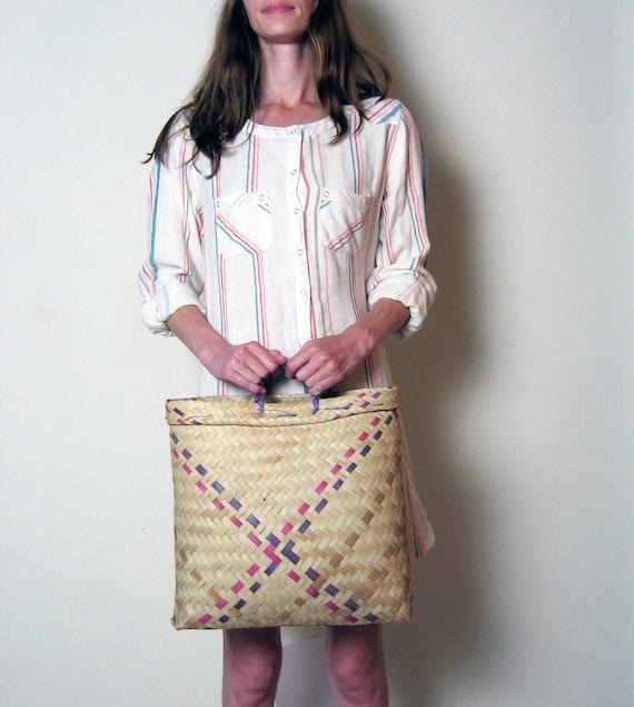 TEN DOLLAR SALE / pink and purple woven basket market bag