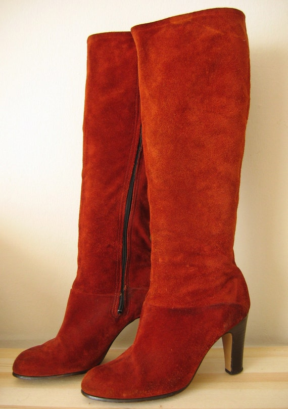 vintage 1970s suede rust colored boots 7 7 5