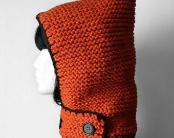 SALE Hand-knit Hood + neckguard 2-in-1 (Orange)