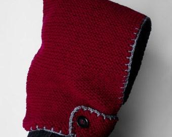 SALE Hand-knit Hood + neckguard 2-in-1  (Red)