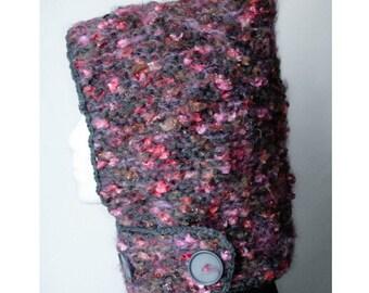 SALE Hand-knit Hood + neckguard 2-in-1  (Pink&Grey)