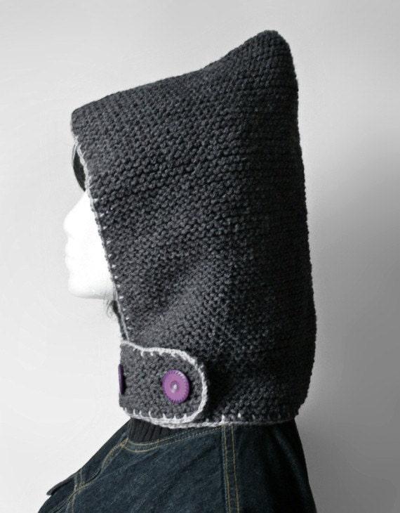 SALE Hand-knit Hood + neckguard 2-in-1  (Grey)
