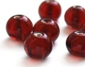 Dark Cranberry red glass rounds - 16 pcs
