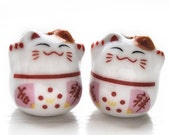 Lucky cat beads - maneki neko - ceramic 2 pieces