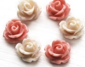 16 pcs small rose cabochons -  peaches and cream mix 10mm cabs