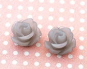 12pcs small rose cabochons -  frosted cloudy grey 10mm