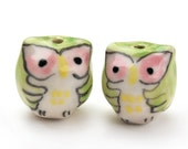 Owl beads - pink and green 2 pcs - ceramic