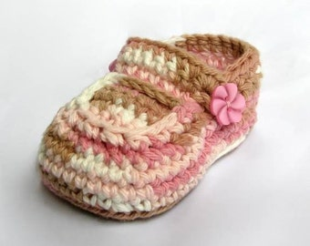 Crochet Pattern Booties Baby Girls Shoes Crochet Patterns Neapolitan with buttons