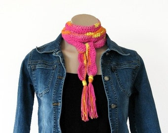 Crochet Pattern Scarf Patterns Wave Design Skinny Slim crochet Scarf Pink Orange Yellow Instant Download with Tassel