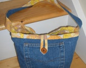 Funky vintage denim and cotton pocket handbag