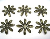 Brass Metal Flowers Stackable 2 inches - 20 pcs