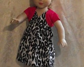 Black, white and red  Print Dress with  Red Shrug for American Girl Dolls