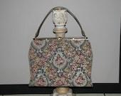 Reserved for lingi0428 Vintage 1950s 60s Tapestry Handbag Taupe & Gray Rose Print Purse Rockabilly Mad Men