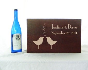 Custom Love Birds Ceremony Wedding or Anniversary Time Capsule Wine Box in Medium
