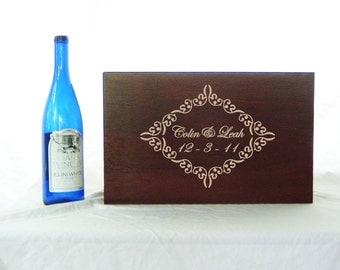 Custom Ornate Wedding Ceremony or Anniversary Time Capsule Wine box in Medium