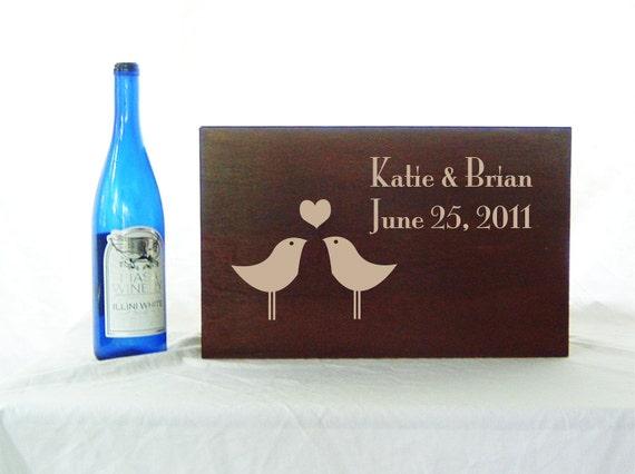 Love Birds Anniversary or Wedding Time Capsule Ceremony Wine box in Medium