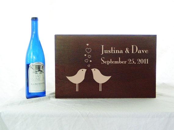 Custom Love Birds Ceremony Wedding or Anniversary Time Capsule Wine Box in Medium
