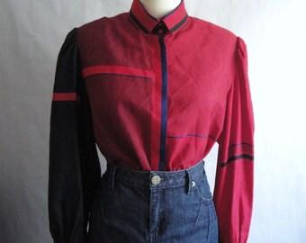 Vintage Avant Garde Blouse / Red Geometric Blouse / Sakowitz /  size S M