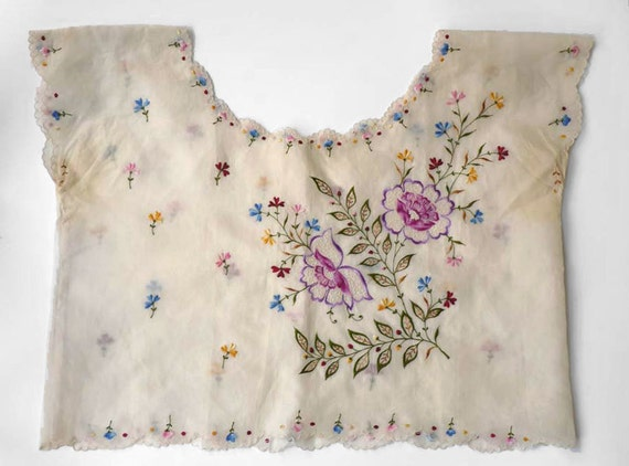 Embroidered silk voile blouse, spectacular flowers and greenery