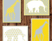 YELLOW & GRAY Baby nursery Giraffe and Elephant Silhouette, 5x7 set of four printables, gender neutral