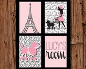 Eiffel Tower & Poodle Paris Print in Black and Pink, 11x14 printable