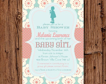 Baby Girl Shower Invitation, Coral & Aqua 5x7 printable