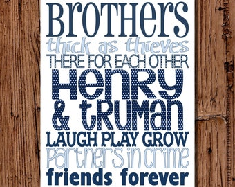 Brothers Subway Art Navy & Light Blue, 11x14 printable
