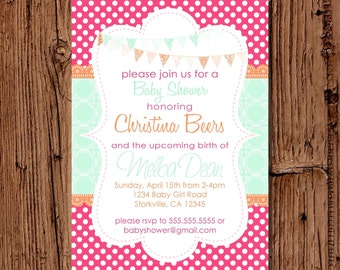 Baby Girl Shower Invitation, Bright Hot Pink & Aqua 5x7 printable