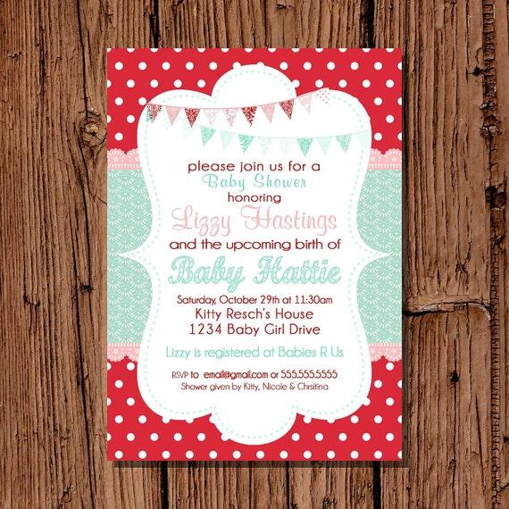 baby girl shower invitation red aqua 5x7 printable