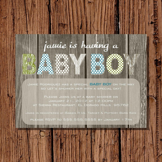 Baby Boy Shower Invitation, Rustic Green & Brown 5x7 printable