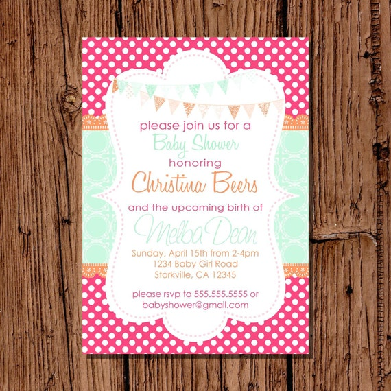 Baby Girl Shower Invitation, Bright Hot Pink & Aqua 5x7 printable