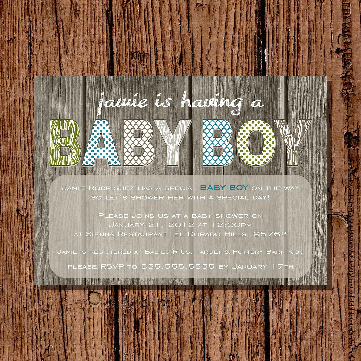 baby boy shower invitation rustic green by pickledoodledesigns