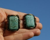 Glitter Bits - Vintage Clip On Earrings - Wedding Prom Formal YART