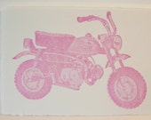 Pink Motorcycle Single Letterpress Card