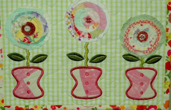 Happy Spring Wall Hanging with Vintage Quilt Flowers and Pots Attached to a Watering Can Metal Hanger