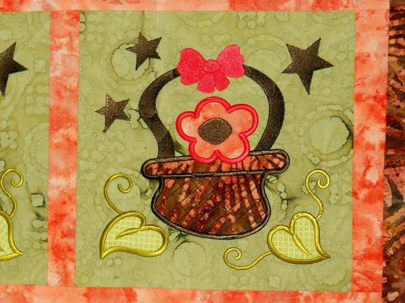 Folk Art Basket of Flowers Appliqued and Quilted Table Runner Made with Beautiful Batik Fabrics