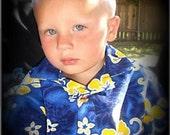 Hawaiian Blue and yellow boy shirt