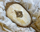 Vintage Shabby Chic......Gold Filigree Hand Mirror