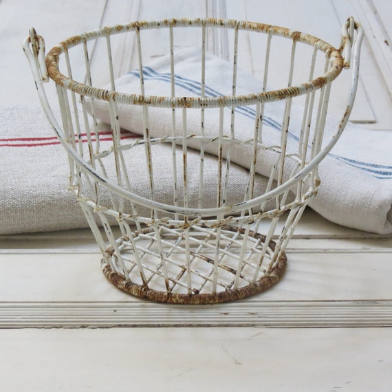 vintage french shabby chic wire basket by redstripevintage