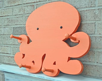 Octopus Home Decor in Tangerine Orange