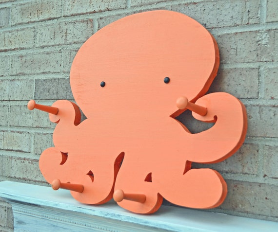 Octopus Coat Rack in Tangerine Orange