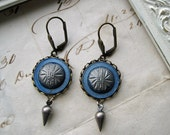 Antique Victorian Button Earrings blue silver tear drop charms vintage french ear wires