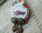 Steampunk Antique Pocket Watch BROOCH clock parts pin 1957 red CHEVY belair MUSCLE Car